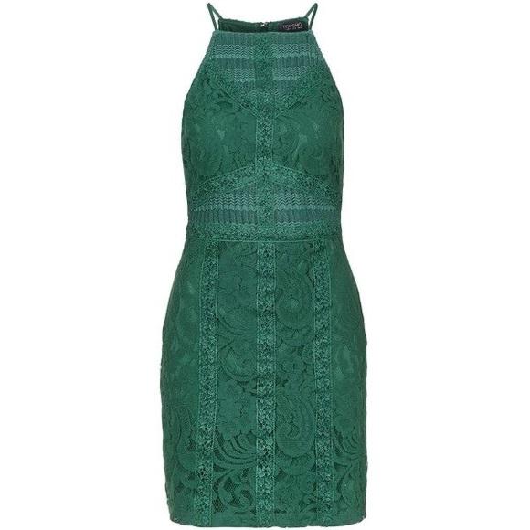 Topshop Green Lace Dress - Size US 4 (runs small)